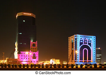 Doha Illuminations - Constantly changing coloured lights...