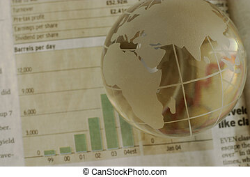 Global oil - Globe in focus, oil chart blurred. Rising trend...