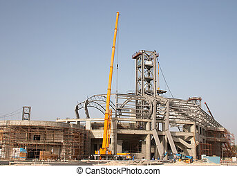 Stadium construction - Sports stadium under construction in...