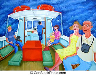 Ferry Passengers - Passengers travelling on a ferry across...