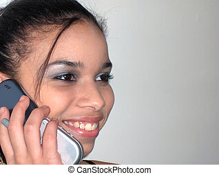 3-Way Calling - Teen on the phone with her friends
