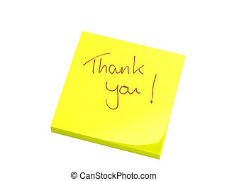 Thank you note - Handwritten thank you on yellow note paper