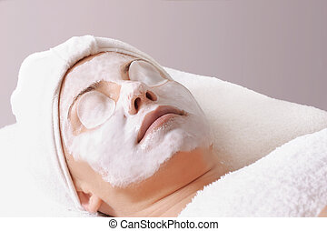 Salon treatment - Woman with moisturising salon treatment.