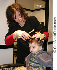 First Hair Cut 05 - Small boy getting his first hair cut....