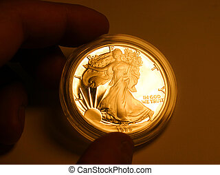 Gold liberty - One dollar coin in hand - reflex gold