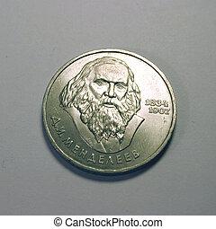 Mendeleev - Famous chemist Dimitri Mendeleev on coin.