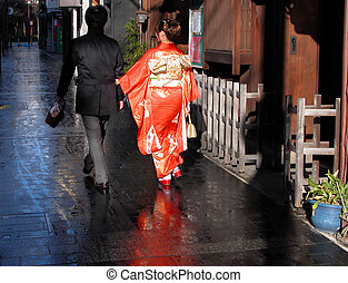 Japanese couple - A Japanese couple wearing traditional...