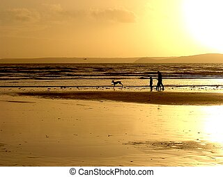 Dusky Beach - Beach at dusk with silhouttes of family and...