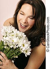 Joy of receiving - Girls joy as she receives a bunch of...