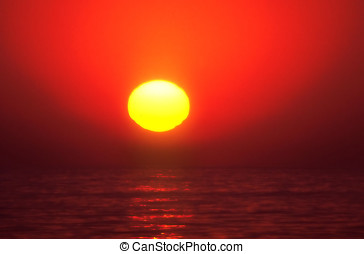 Sun Goes Up - The sun goes up in the morning behind African...
