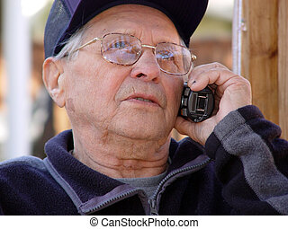 Keep in touch - An old man talking on the phone