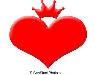 Queen of hearts in red with a crown
