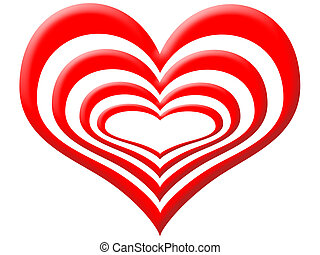Love layers - Layers of red heart one within the other