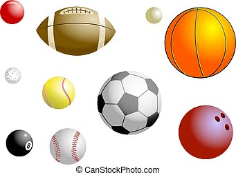 Sports Balls - Sports balls collection includes - golf ball,...