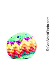 Hacky Sack - A colorful, isolated, hacky sack on a white...