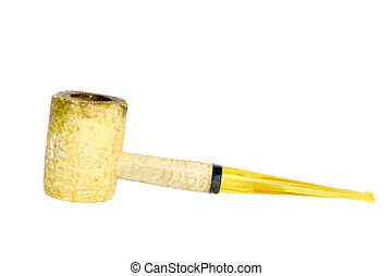 Corn Cob Pipe - An isolated corn cob pipe on a white...