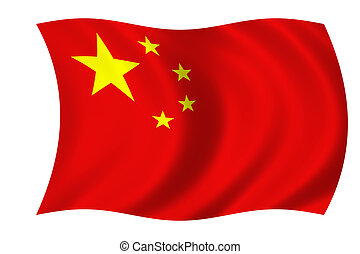 chinese flag - waving flag of china