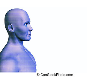Man of Numbers - A muscular rendering of a man with a...