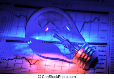 Investment Ideas - Lightbulb and Stock Chart With Colored...