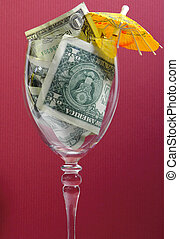 Tips - Photo of a Wine Glass With Money in It