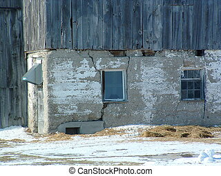 Barn - Corner of an old barn with fading whitewash and...