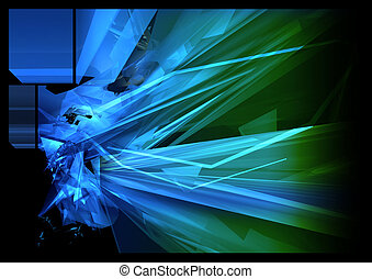 Abstract Background - abstract, chaotic geometry, with light...