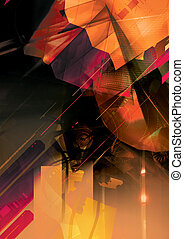 Abstract Background - abstract shapes with flares, light and...