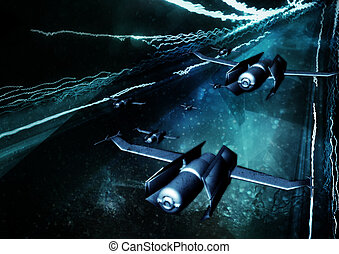 Flight 54 - Three dimensional ships traveling into a...