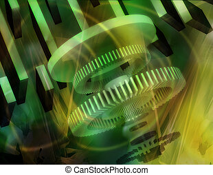 Abstract Gears - abstract three dimensional gears with color...