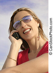Communications - Happy girl on cellphone