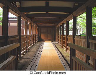 Wooden corridor - An aspect from a temple in...