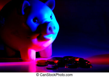 Banking - Piggy Bank With Colored Lighting