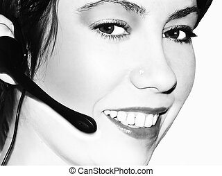 tele marketing 5 - girl with telephone earpiece