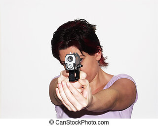 self protection - woman with semi-automatic pistol
