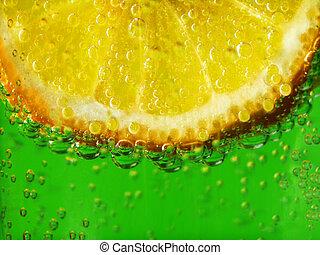 Lemon Refreshment - Close-up macro shot of a lemon in...