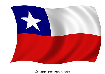 flag of chile - waving flag of chile