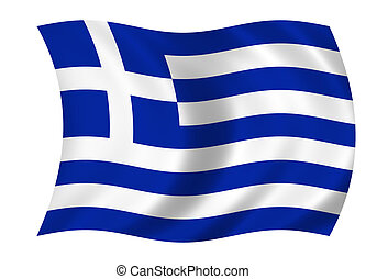flag of greece - waving flag of greece