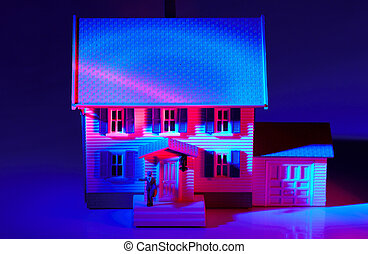 Realtor - Replica House With Colored Lighting part of Real...
