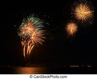 Eid festivities - Fireworks exploding over Doha to mark the...