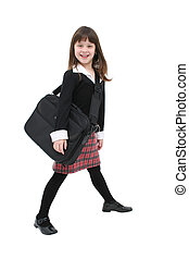 Girl w/Laptop Case - Happy girl walking in a dress with her...