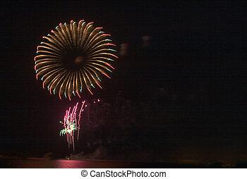 Firework 'flower' - Eid firework display in Qatar, Arabia