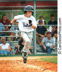 Baseball Runner - Little League baseball player running to...