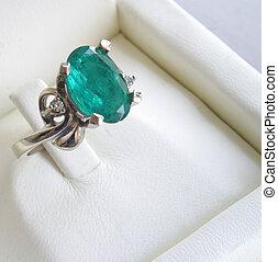 verde, esmeralda, anillo