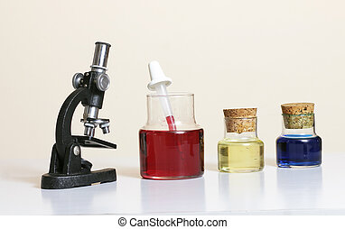 Science - Microscope and coloured liquids