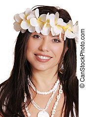 Friendly islander - Islander girl with frangipani lei