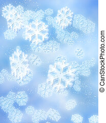 winter snowflakes - digital illustration of blue snowflakes