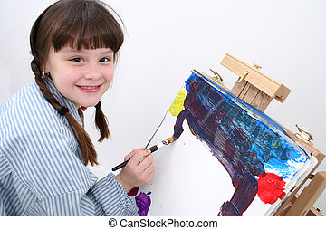 Girl Painting 02 - Adorable grade school aged girl painting....