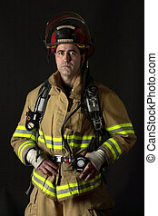Fire Fighter - Fire fighter wearing bunker gear - dark...