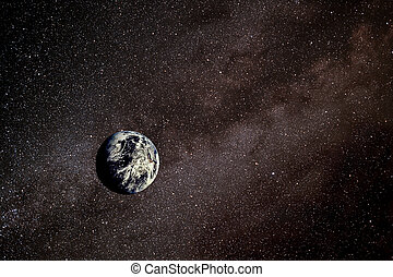 Earth in Space - Earth in space against the Milky Way...