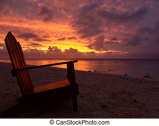 Chair and Sunset - sunset over rarotonga